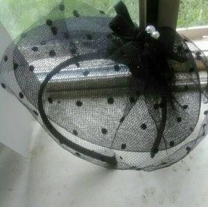 Lace, Satin & pearls.Headband Vail